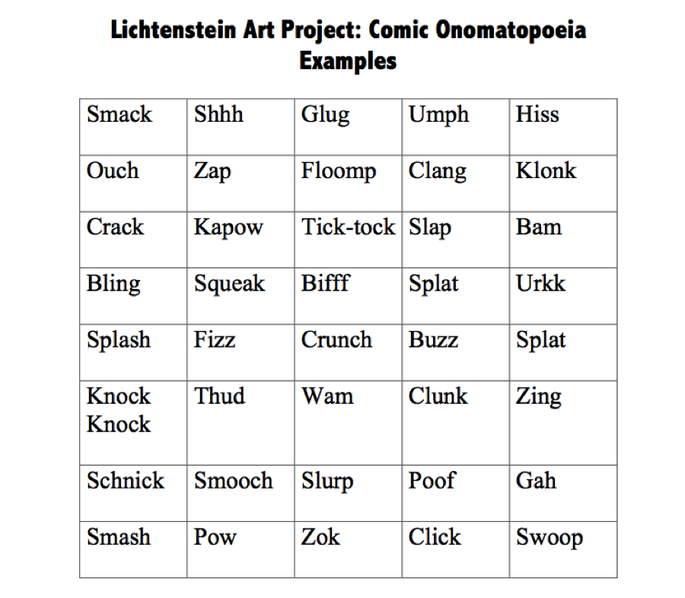 Onomatopoeia Art Lesson Plan Mrs Gascas Educational Resources